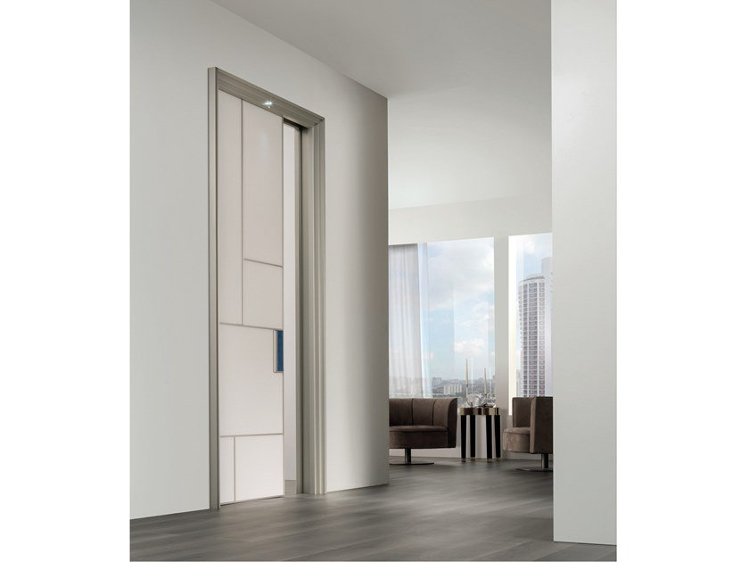 Lacquered tempered glass pocket sliding door LAND | Pocket sliding door by Longhi