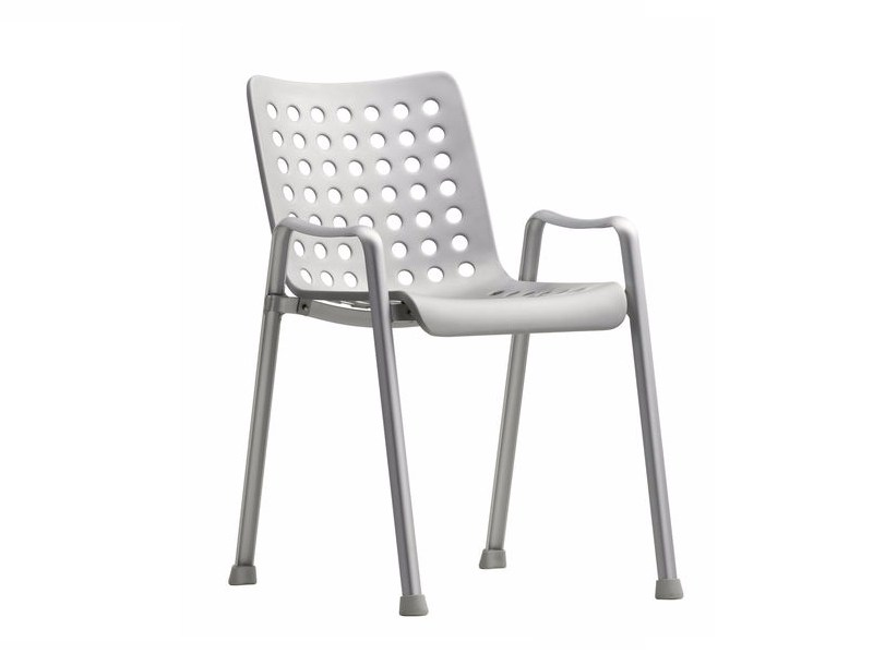 Stackable aluminium chair with armrests LANDI by Vitra