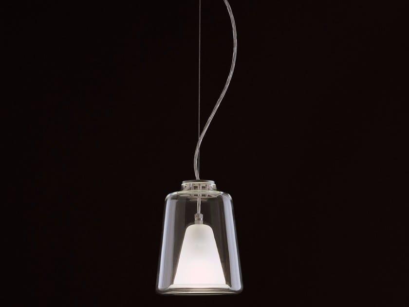 Glass and aluminium pendant lamp LANTERNA - 477 by Oluce