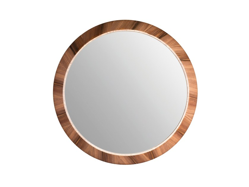 Round wall-mounted framed mirror LAPA by Branco sobre Branco