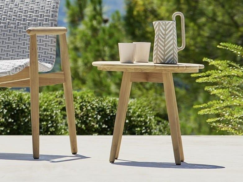 Round teak garden side table LAPIS | Coffee table by Varaschin
