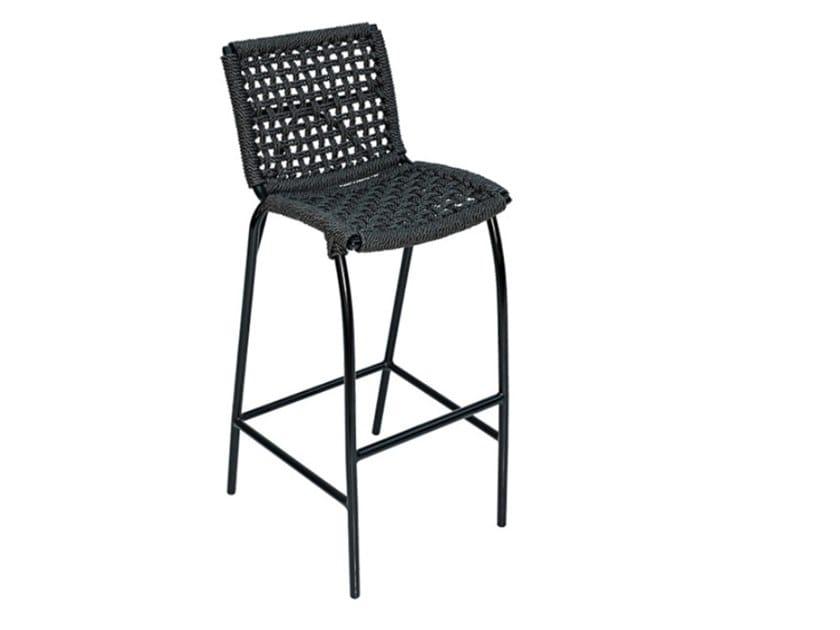 Synthetic fibre garden stool with back LARA WEAVING | Stool by cbdesign