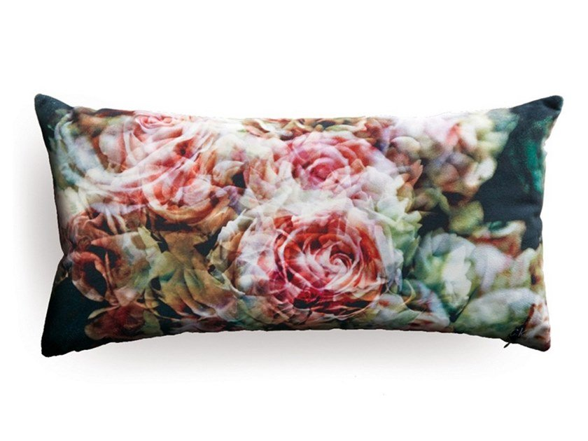 Rectangular cushion with floral pattern LARGE ENGLISH ROSES (SERIES 1) by Koziel