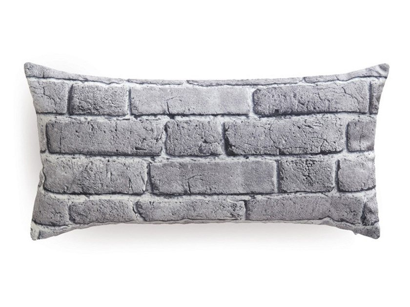 Rectangular cushion LARGE GREY OLD BRICKS by Koziel