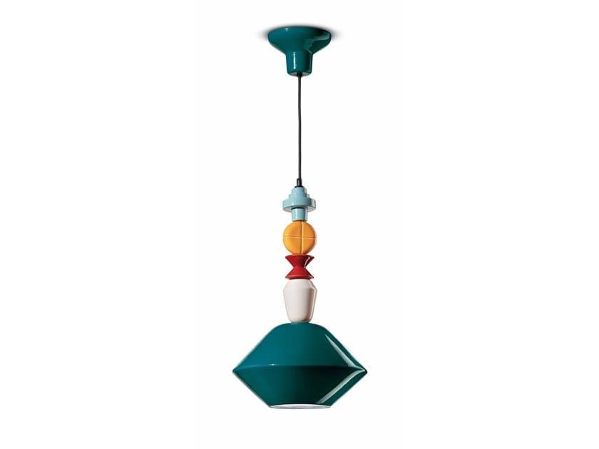 Lampada a sospensione in ceramica LARIAT C2510 by FERROLUCE