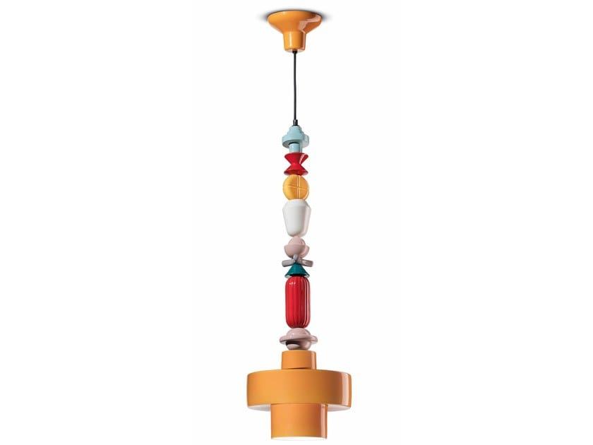 Lampada a sospensione in ceramica LARIAT C2532 by FERROLUCE