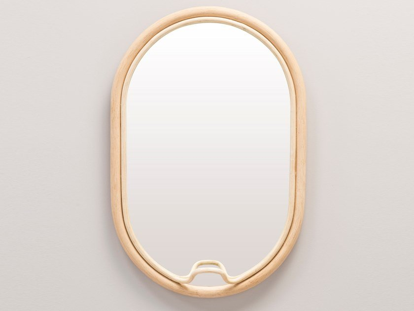 Oval wall-mounted framed rattan mirror LASSO | Oval mirror by Orchid Edition