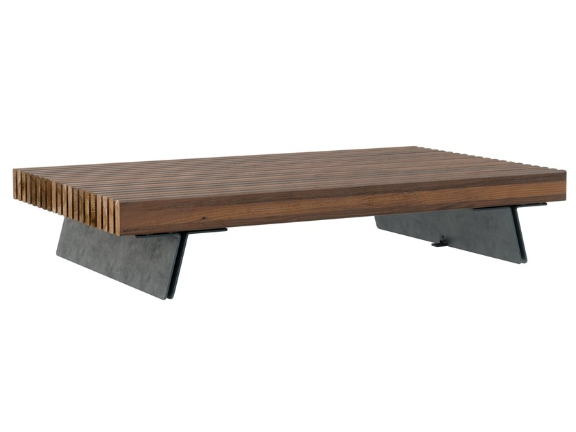 Backless steel and wood Bench LATTLAUD FLAT by Väliala