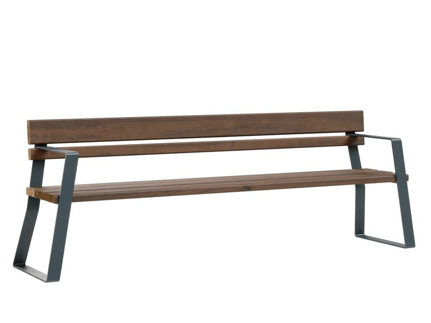 Steel and wood Bench with back LATTLAUD MINIMAL by Väliala