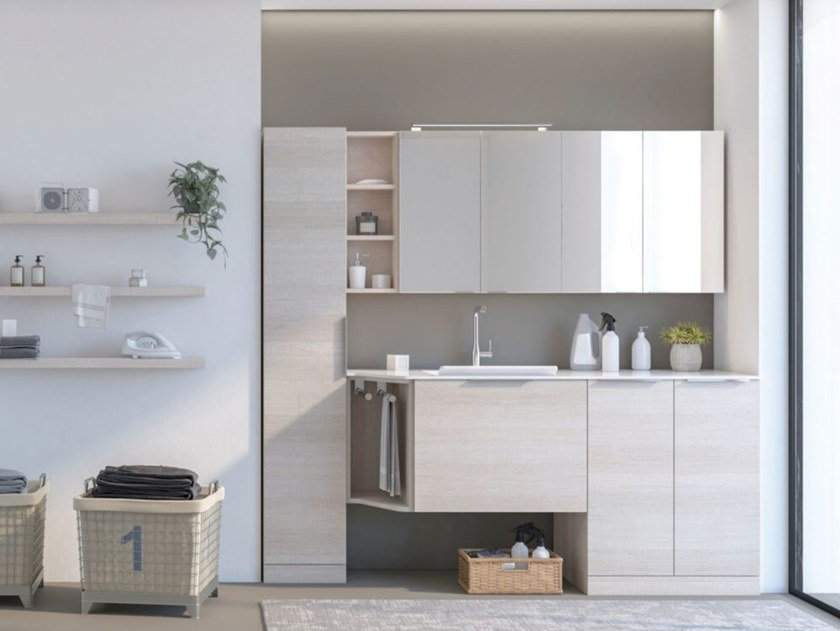 Mobile lavanderia con ante a battente con lavatoio LAVANDERIA 3 by LEGNOBAGNO