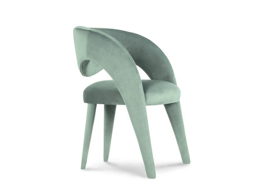 Upholstered velvet chair with armrests LAURENCE | Velvet chair by Green Apple