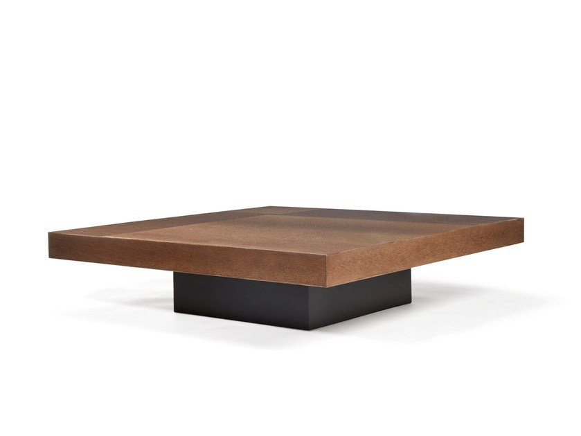 Square wooden coffee table for living room LAUSANNE by HUGUES CHEVALIER