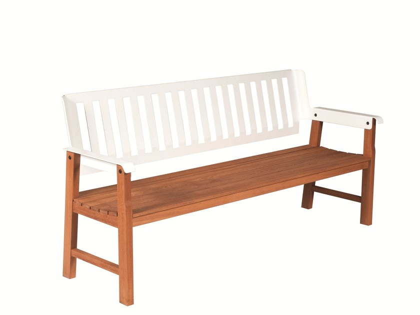 Garden bench with armrests LAUSANNE by Tectona
