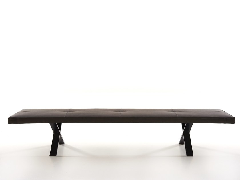 Tufted leather bench LAX | Bench by more