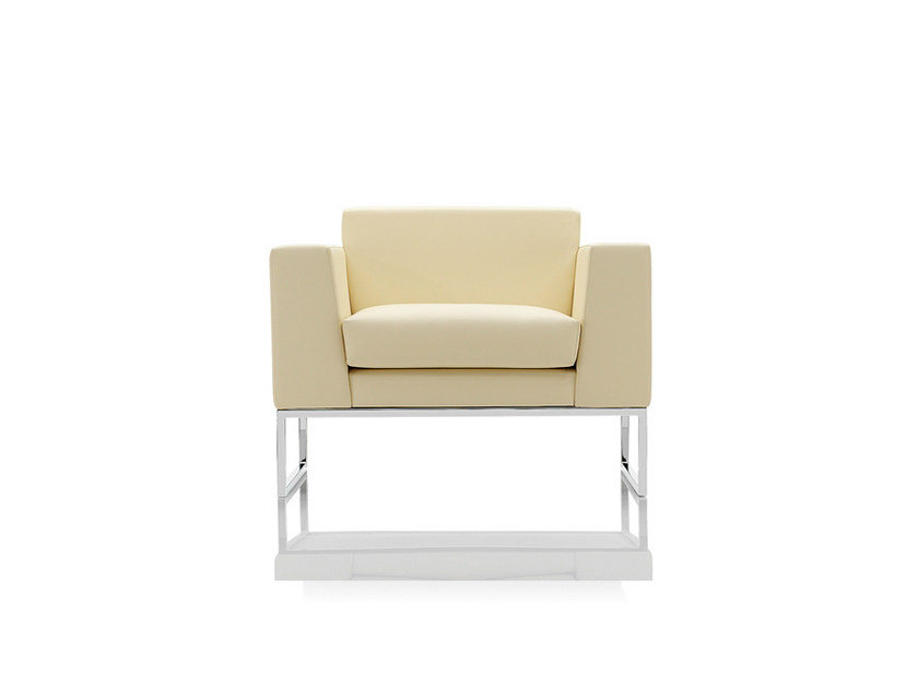 Sled base upholstered armchair with armrests LAZLA   Sled base armchair by Boss Design