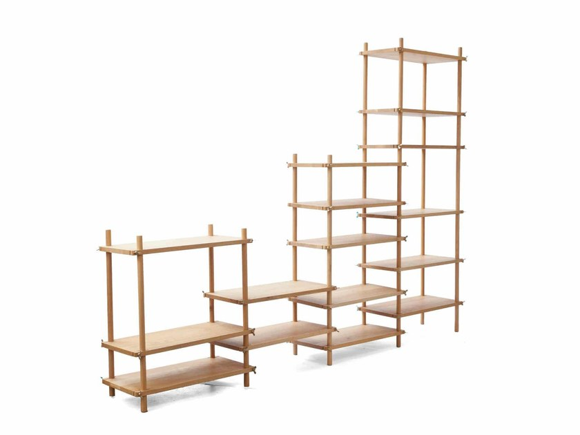 Open modular wooden bookcase LE BELGE SYSTEM by Vij5