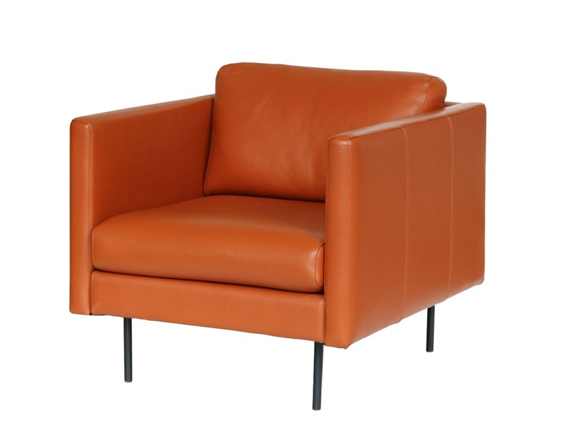 Upholstered leather armchair with armrests LEAF   Armchair by OOT OOT