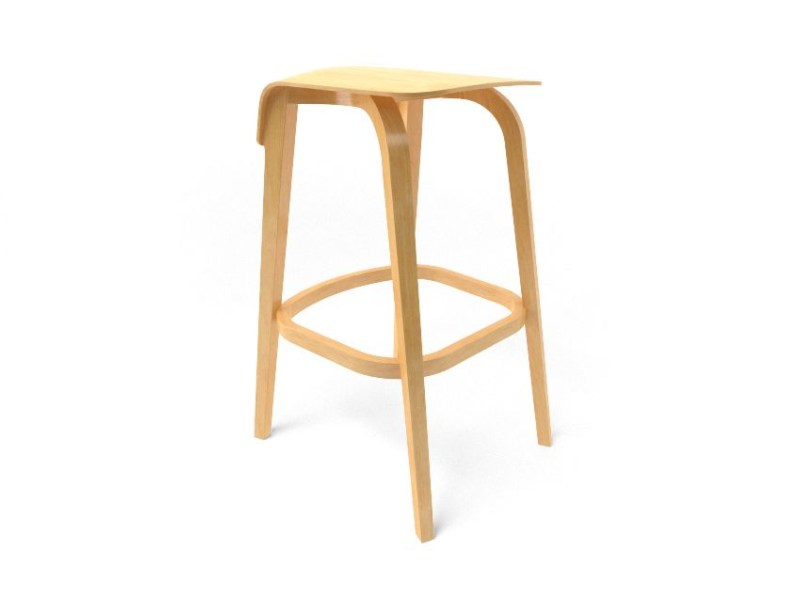 High wooden stool LEAF BARSTOOL by TON