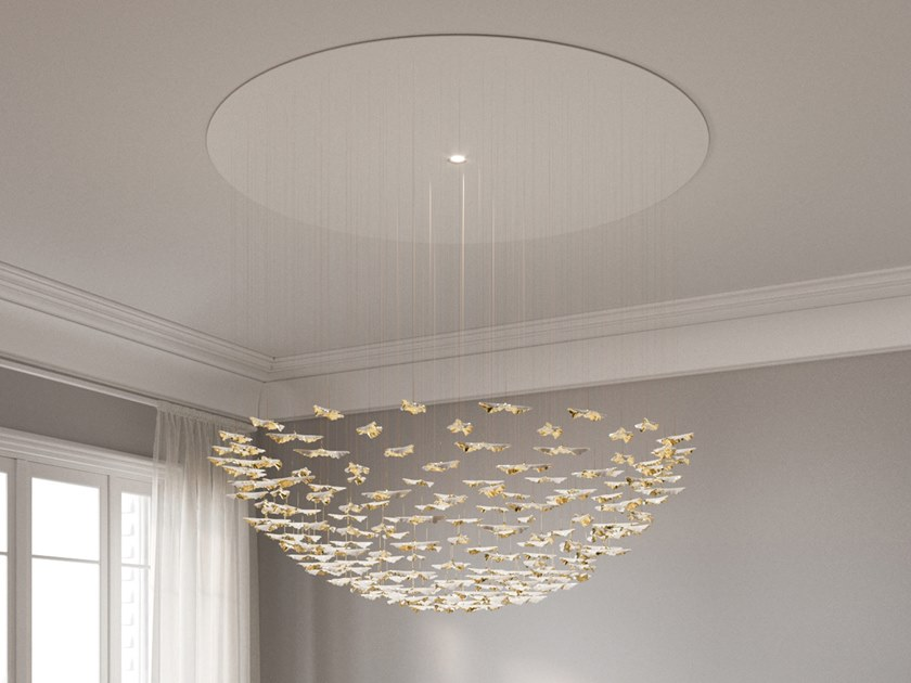 LED porcelain pendant lamp LEAF FALL LARGE CIRCLE by Haberdashery