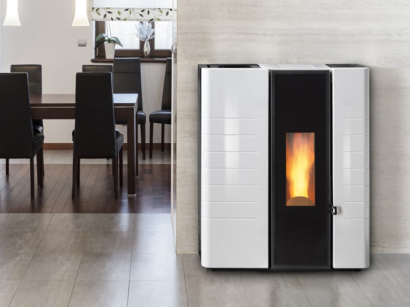 Pellet Class A+ wall-mounted faïence stove LEAN A by CAMINETTI MONTEGRAPPA
