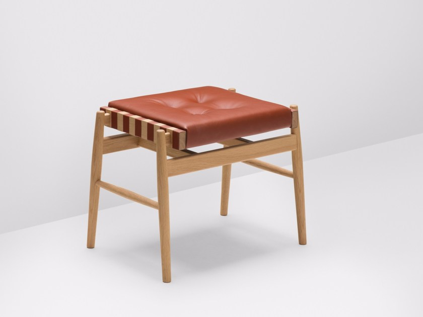 Upholstered leather stool LEATHER | Stool by H Furniture