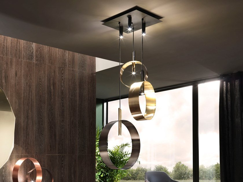 LED direct-indirect light metal pendant lamp LED LOOP S by RIFLESSI
