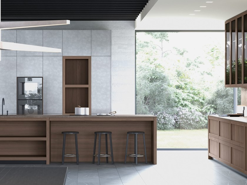 Fitted kitchen with island LEGNO VIVO 2.6   Kitchen with island by GD Arredamenti