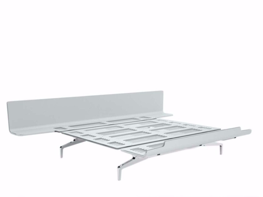 Aluminium and wood double bed LEGNOLETTO 180 - LL9_180 by Alias