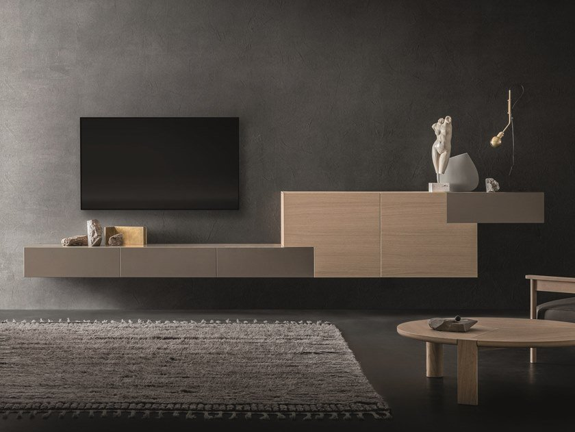 Sectional wall-mounted oak storage wall LEI | Composition L202 by ZANETTE