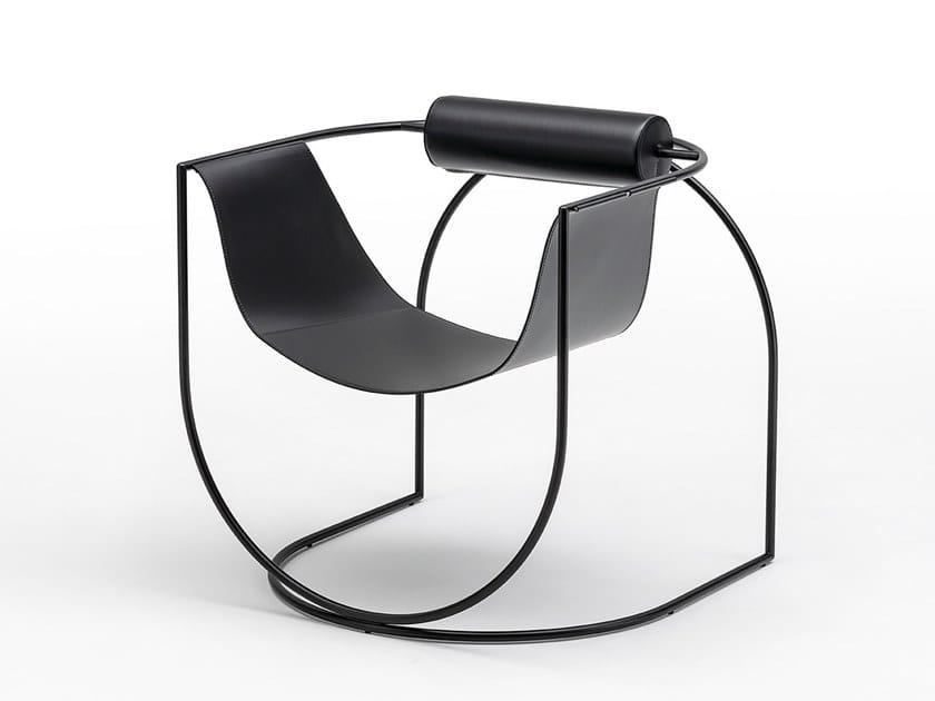 Poltrona con struttura in acciaio e seduta in cuoio LEMNI by Living Divani