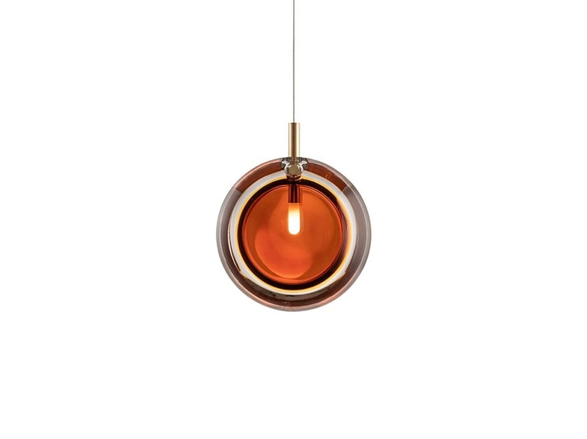 Handmade glass pendant lamp LENS AMBER by bomma