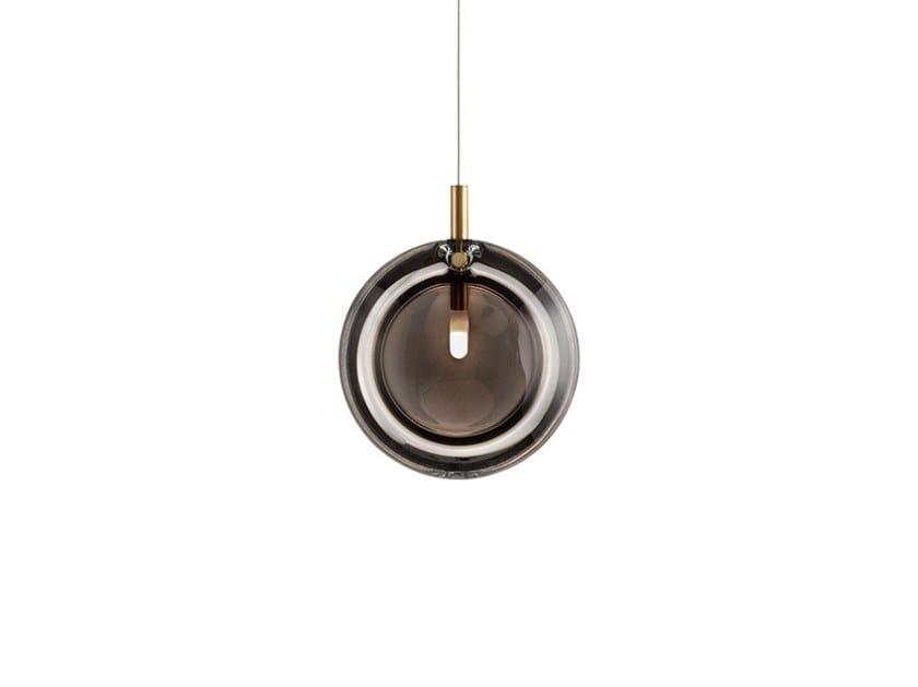 Handmade glass pendant lamp LENS SMOKE by bomma