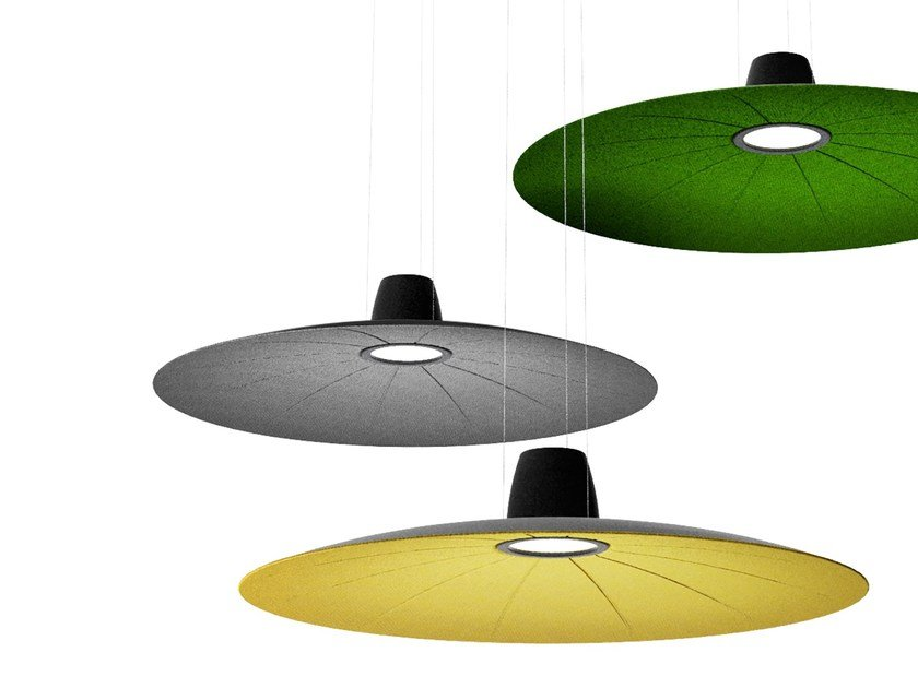 Hanging acoustic panel / pendant lamp LENT by Martinelli Luce