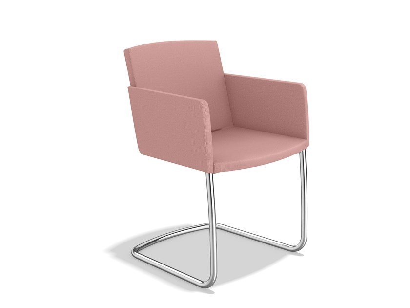 Cantilever fabric chair with armrests LEON II | Cantilever chair by Casala