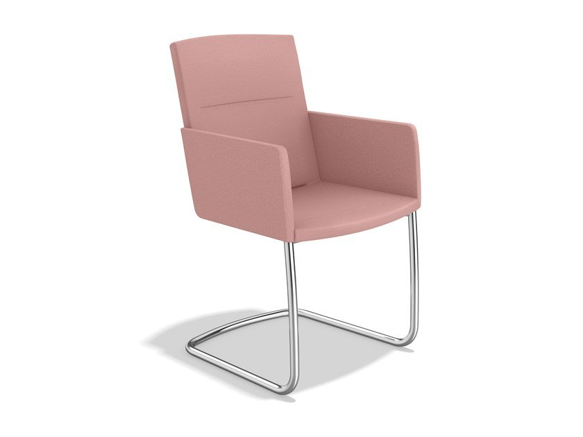 Cantilever fabric chair with armrests LEON II | Chair with armrests by Casala
