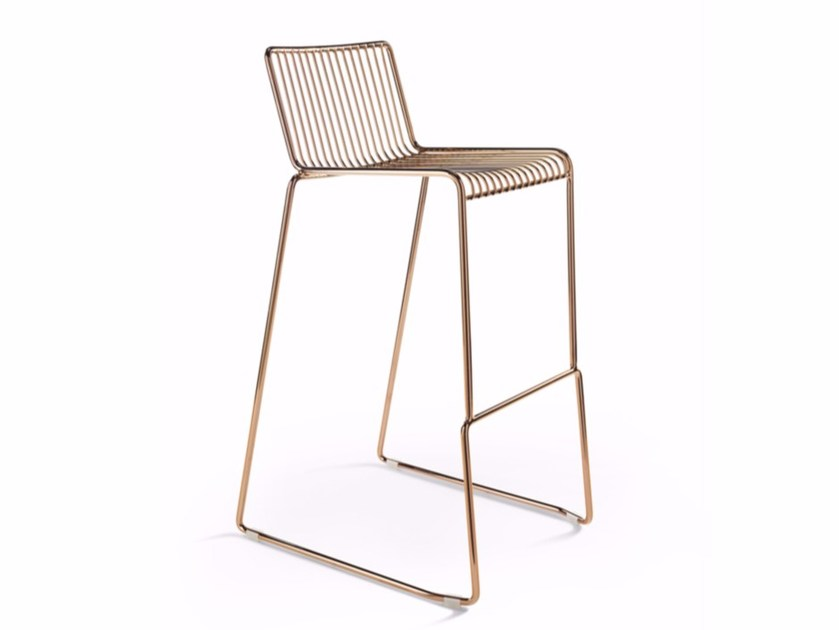 Sled base steel counter stool with footrest LEROD | Counter stool by Derlot Editions
