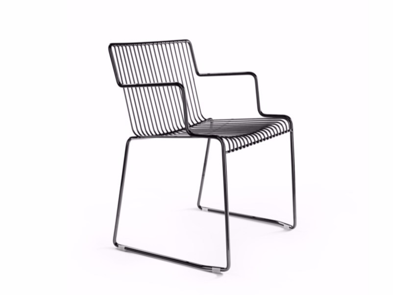 Sled base steel chair with armrests LEROD | Chair with armrests by Derlot Editions