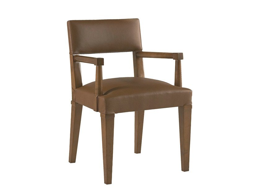 Leather chair with armrests LESAGE by Laval