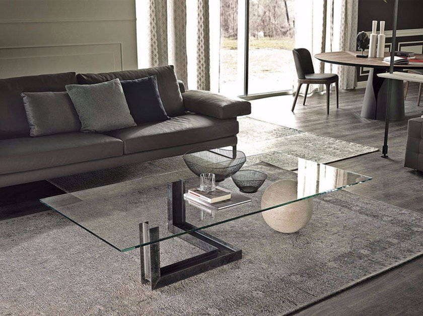 Low rectangular crystal coffee table LEVANTE by Cattelan Italia