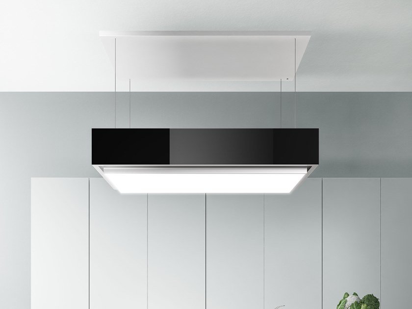 Stainless steel island hood with activated carbon filters with integrated lighting LEVANTE by Falmec