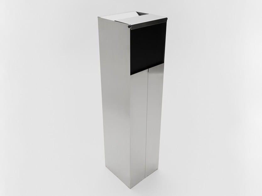 Posacenere da terra con cestino in acciaio inox e alluminio LEVANZO by Danese Milano