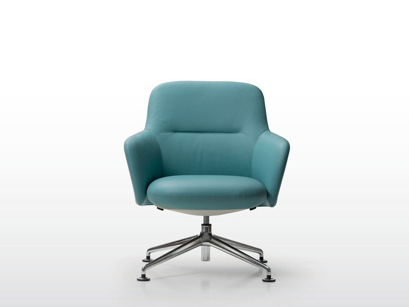 Swivel leather armchair with 4-spoke base LEVEL | Swivel armchair by Quinti Sedute