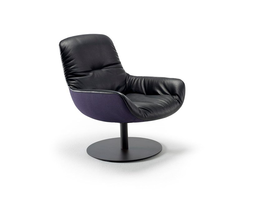 Leather armchair with armrests LEYA LOUNGE CHAIR by Freifrau