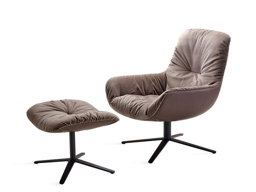 Fabric armchair with 4-spoke base LEYA LOUNGE CHAIR by Freifrau