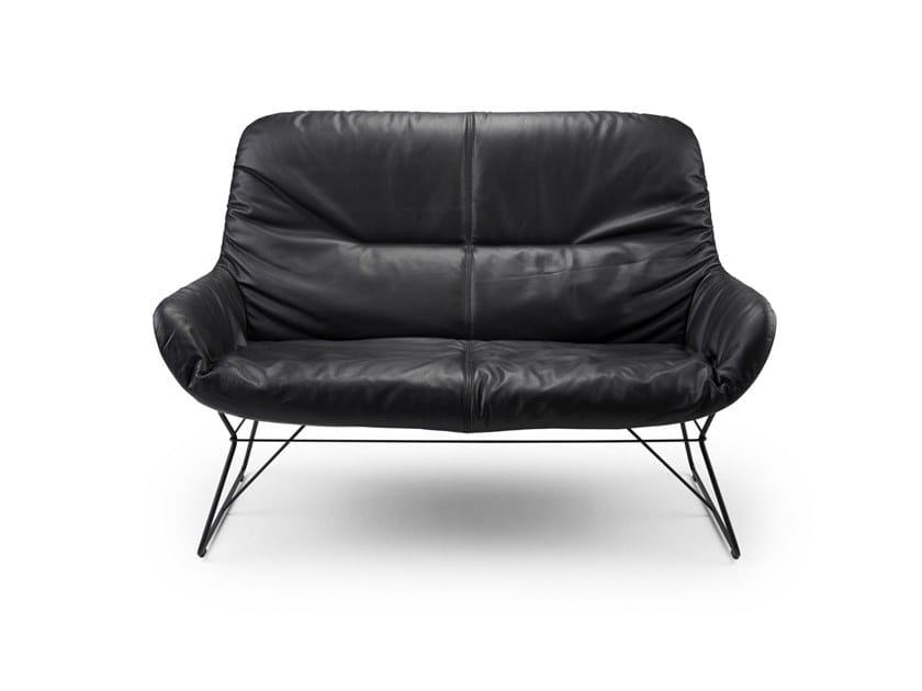 Leather small sofa LEYA LOUNGE COUCH by Freifrau