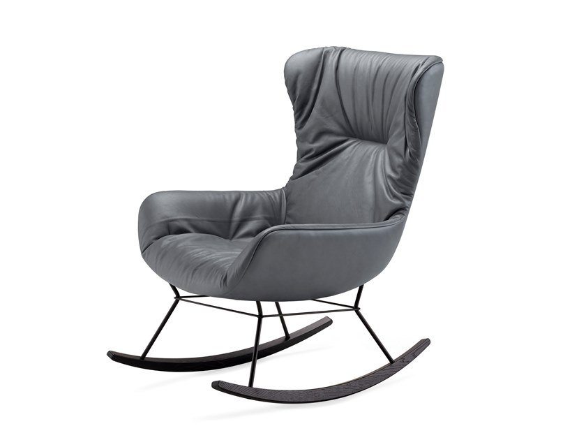 Wing leather armchair with armrests LEYA ROCKING WINGBACK CHAIR by Freifrau