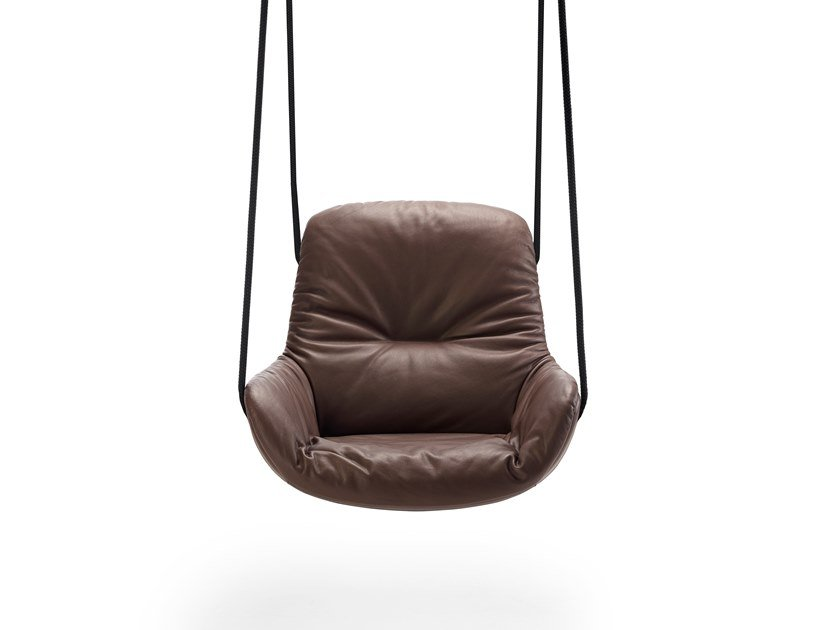 Swing leather armchair with armrests LEYA SWING SEAT by Freifrau