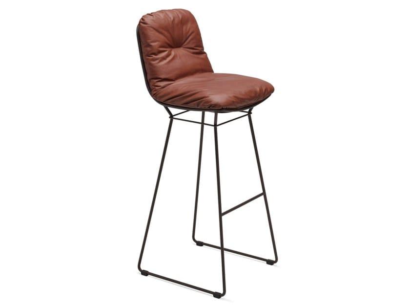High sled base leather stool LEYASOL BARSTOOL by Freifrau