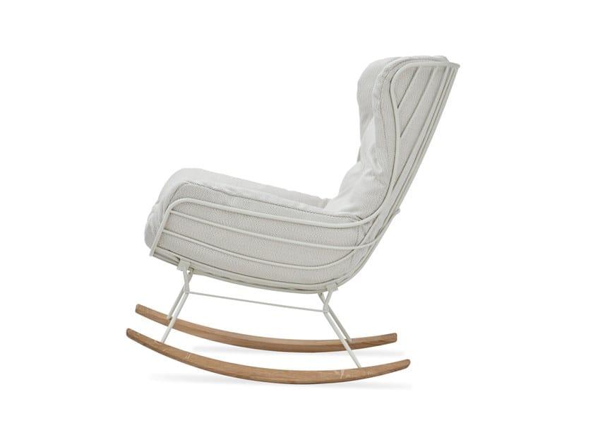 Rocking Sunbrella® garden armchair with armrests LEYASOL OUTDOOR ROCKING WINGBACK by Freifrau