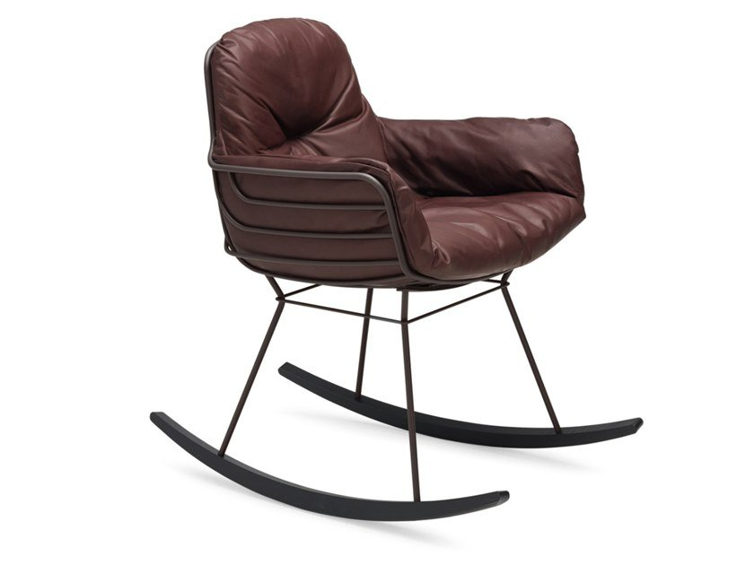 Rocking upholstered leather easy chair with armrests LEYASOL ROCKING SMALL by Freifrau